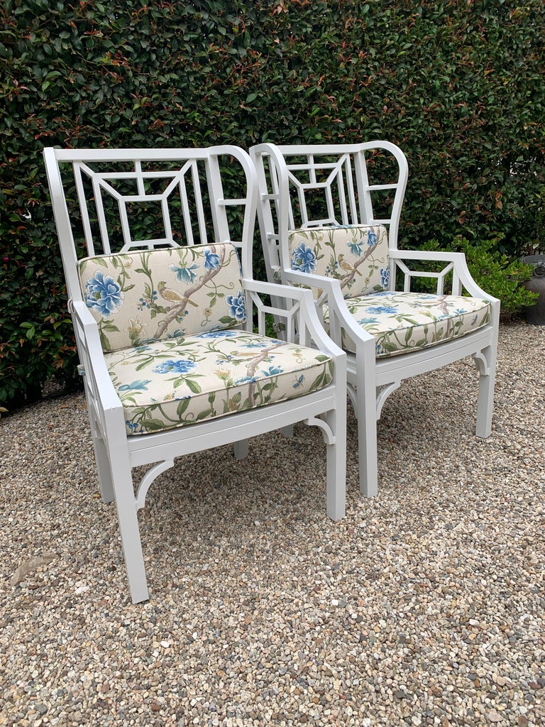 20th Century Pair of Aluminum Chippendale Style Wingback Chairs with Custom Cushions For Sale