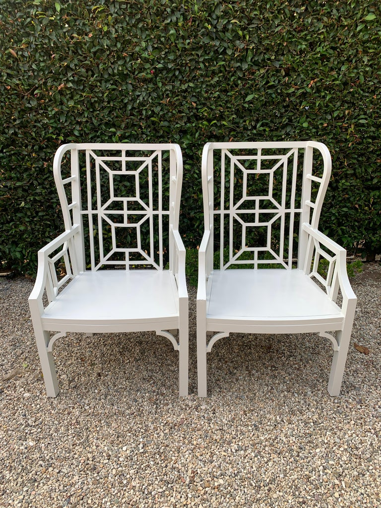 Pair of Aluminum Chippendale Style Wingback Chairs with Custom Cushions For Sale 1