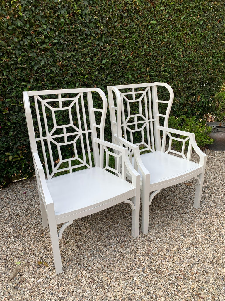 Pair of Aluminum Chippendale Style Wingback Chairs with Custom Cushions For Sale 2