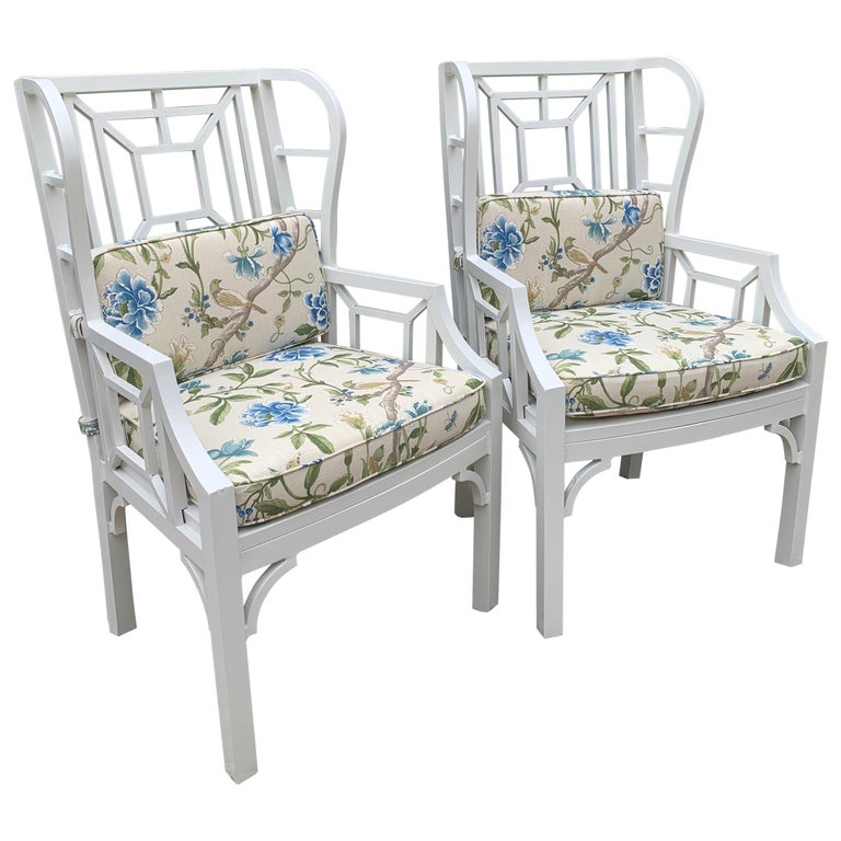 Pair of Aluminum Chippendale Style Wingback Chairs with Custom Cushions For Sale