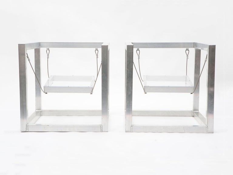 Pair of aluminum and plexiglass armchairs by RO/LU with hanging seats. Created during RO/LU's residency at the Rauschenberg Foundation, and made by one of Rauschenberg's original fabricators. This pair is unique.