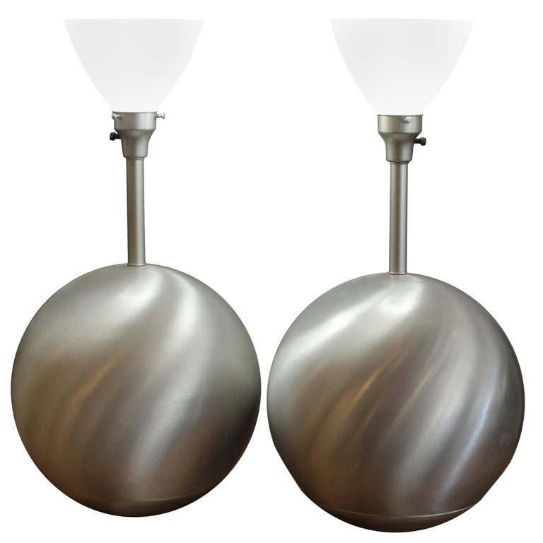 Pair of Aluminum Sphere Lamps by Raymor For Sale