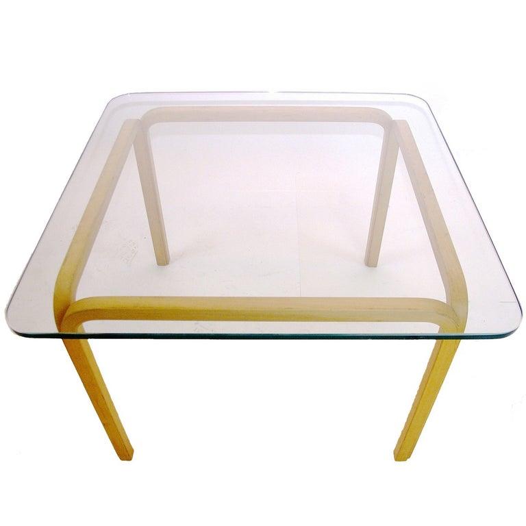 Scandinavian Modern Pair of Alvar Aalto Artek Y805 Glass & Bentwood Birch Coffee or Cocktail Tables For Sale