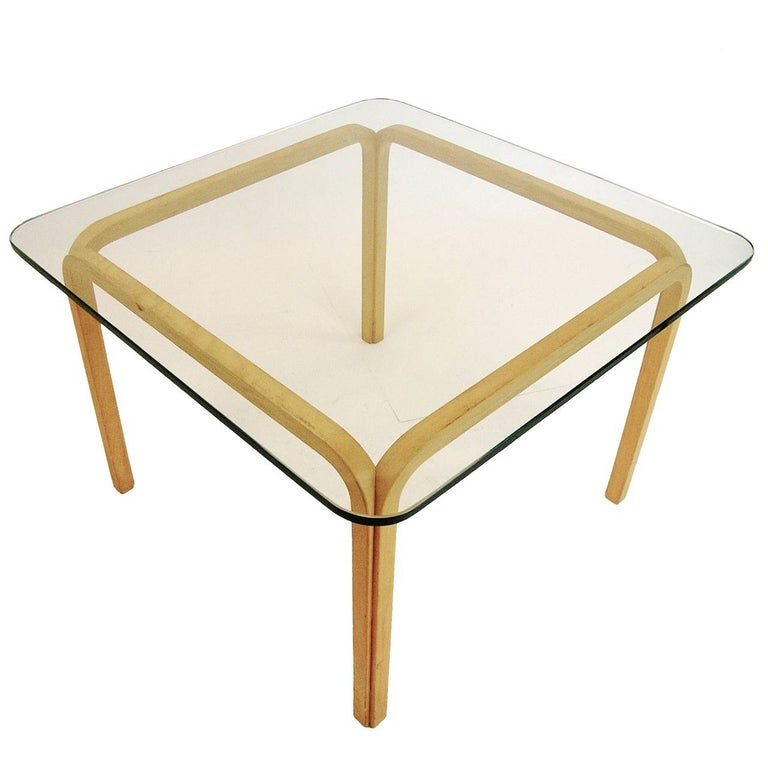 Pair of Alvar Aalto Artek Y805 Glass & Bentwood Birch Coffee or Cocktail Tables In Good Condition For Sale In Hudson, NY