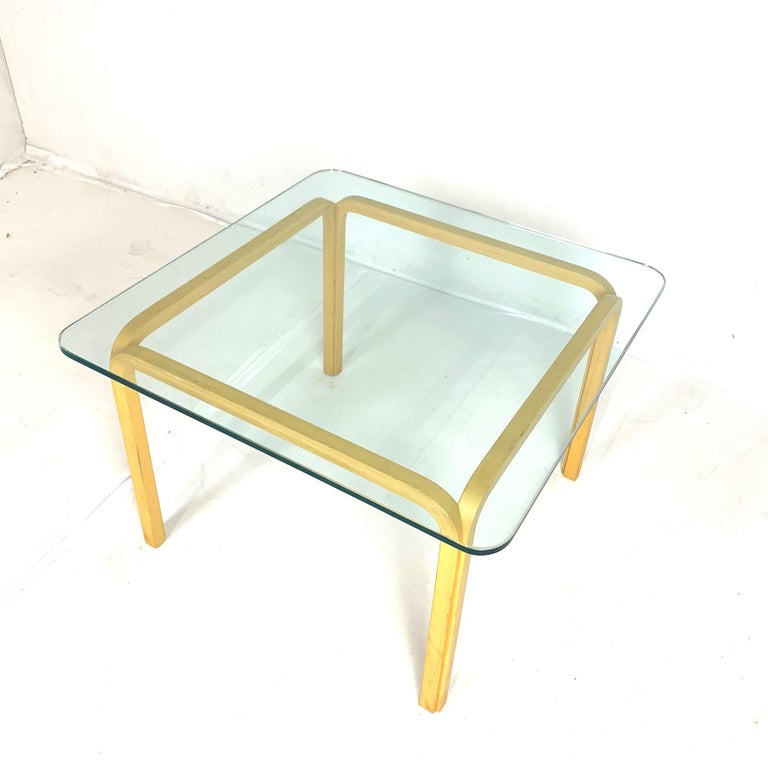 Pair of Alvar Aalto Artek Y805 Glass & Bentwood Birch Coffee or Cocktail Tables For Sale 1
