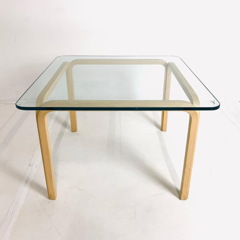 Pair of Alvar Aalto Artek Y805 Glass & Bentwood Birch Coffee or Cocktail Tables For Sale 2