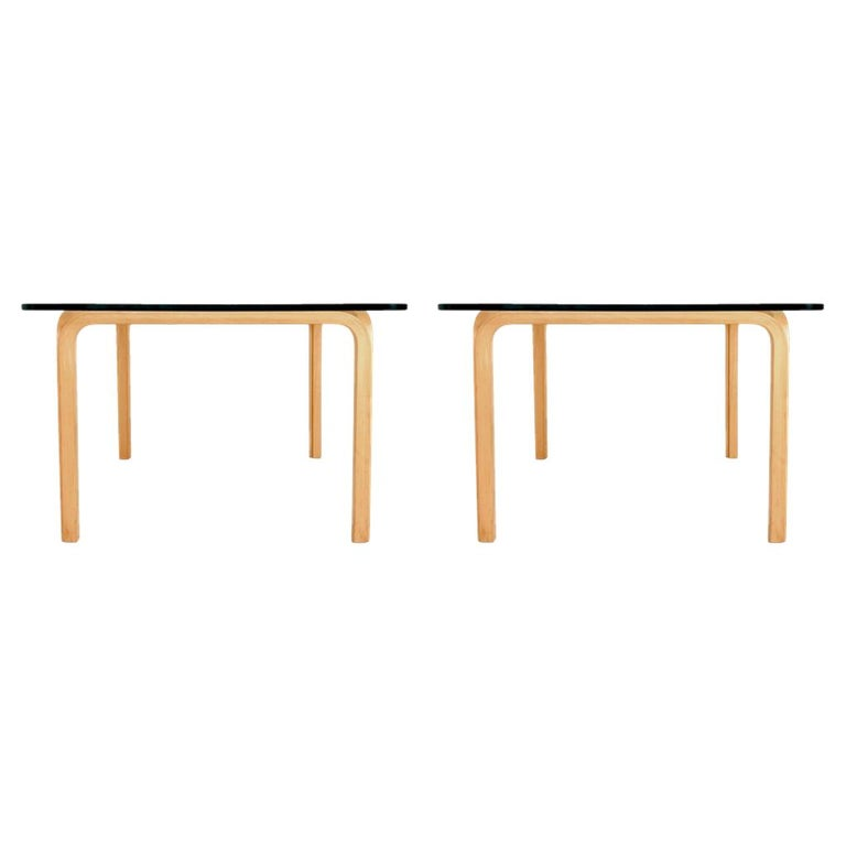 Pair of Alvar Aalto Artek Y805 Glass & Bentwood Birch Coffee or Cocktail Tables For Sale