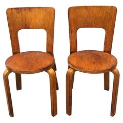Pair of Alvar Aalto Bentwood Side Chairs Model 66, Early Production, Finland