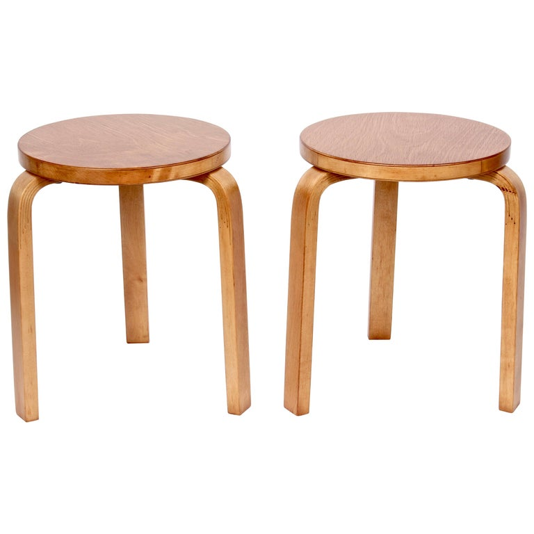 Pair of Alvar Aalto Finsven #60 Stacking Stools, 1930s For Sale