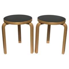Pair of Alvar Aalto Mid-Century Modern Round Stools
