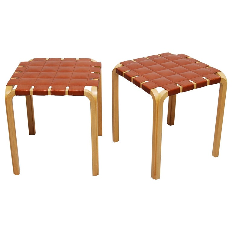 Pair of Alvar Aalto Y61 Stools with Original Leather Seats For Sale