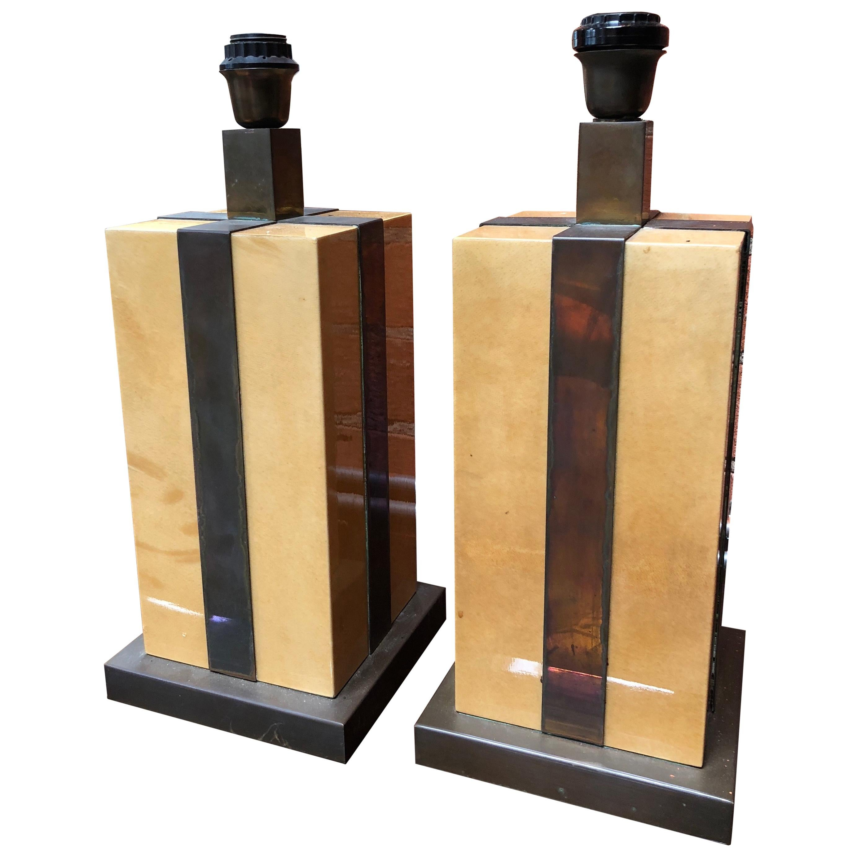 Pair of Amazing Italian Table Lamps, 1970s, by Tommaso Barbi
