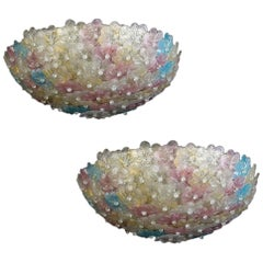 Pair of Amazing Venetian Ceiling Flowers Basket by Barovier & Toso, 1950s