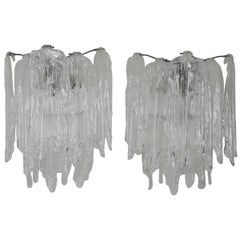 Pair of Italian Glass Wall Sconces Attributed to Mazzega, Italy, circa 1960s