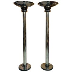 Pair of Amazonian Tall Torchiere Floor Lamps by Walter Prosper