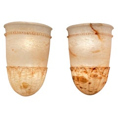 Pair of Amber Alabaster Sconces