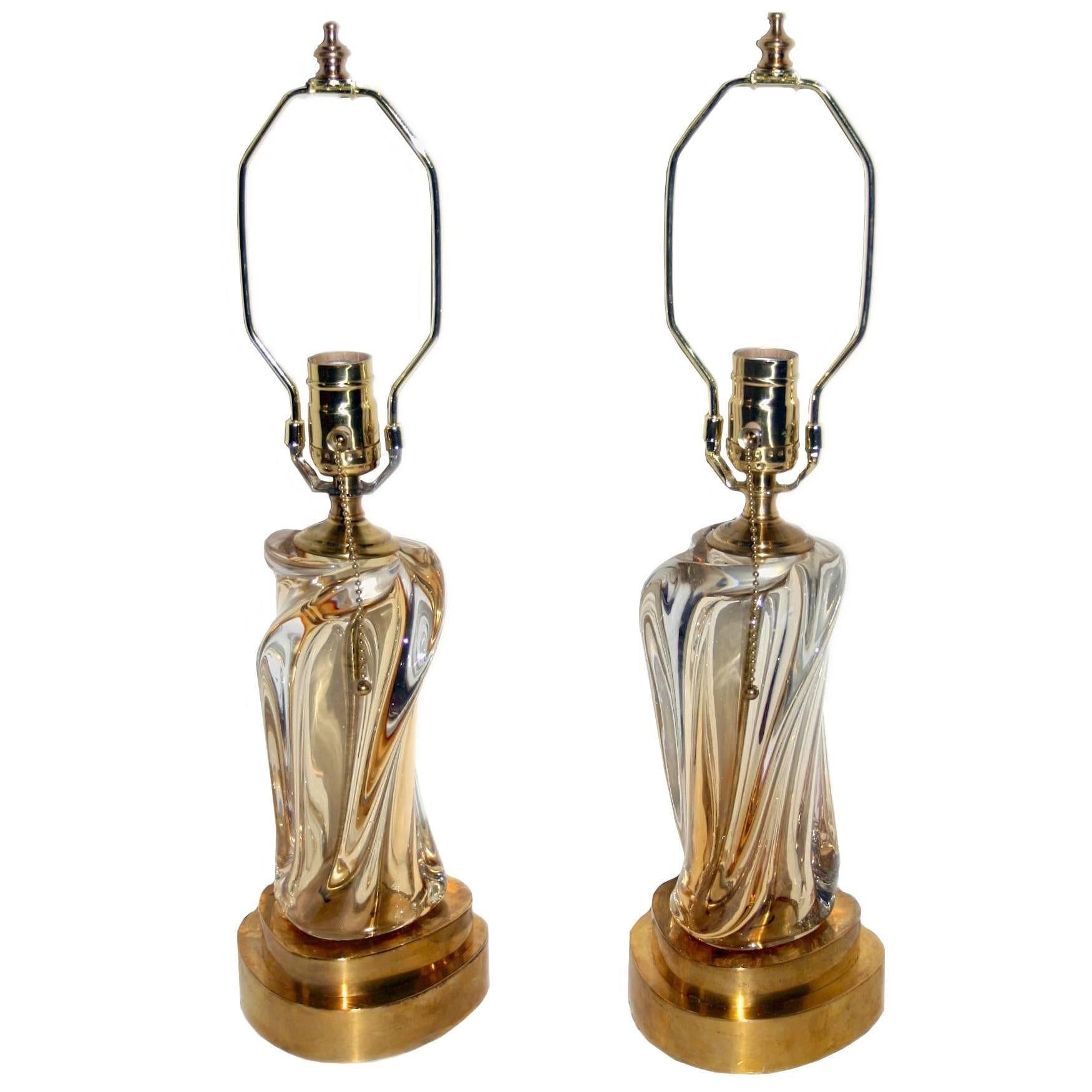 Pair of Amber and Clear Murano Glass Lamps
