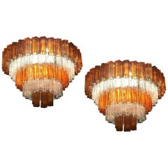 Pair of Amber and Ice Color Murano Glass Chandelier or Flushmount, 1970