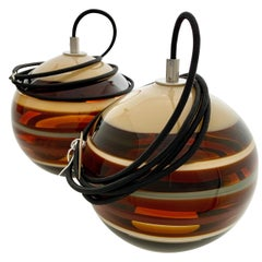Pair of Amber Banded Orbs '2', Ready to Ship