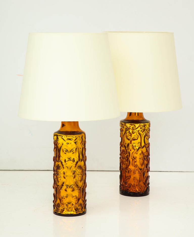 Pair of Amber Bitossi Lamps For Sale 6