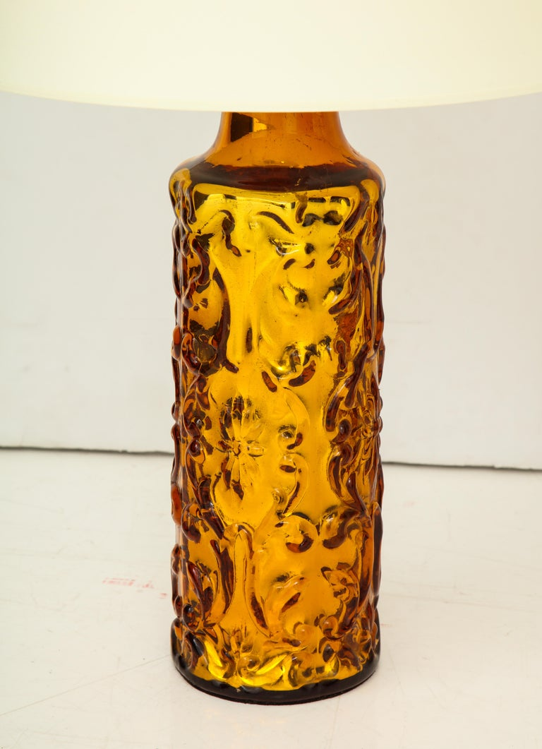 Pair of beautiful amber Bitossi lamps, rewired, new shades.