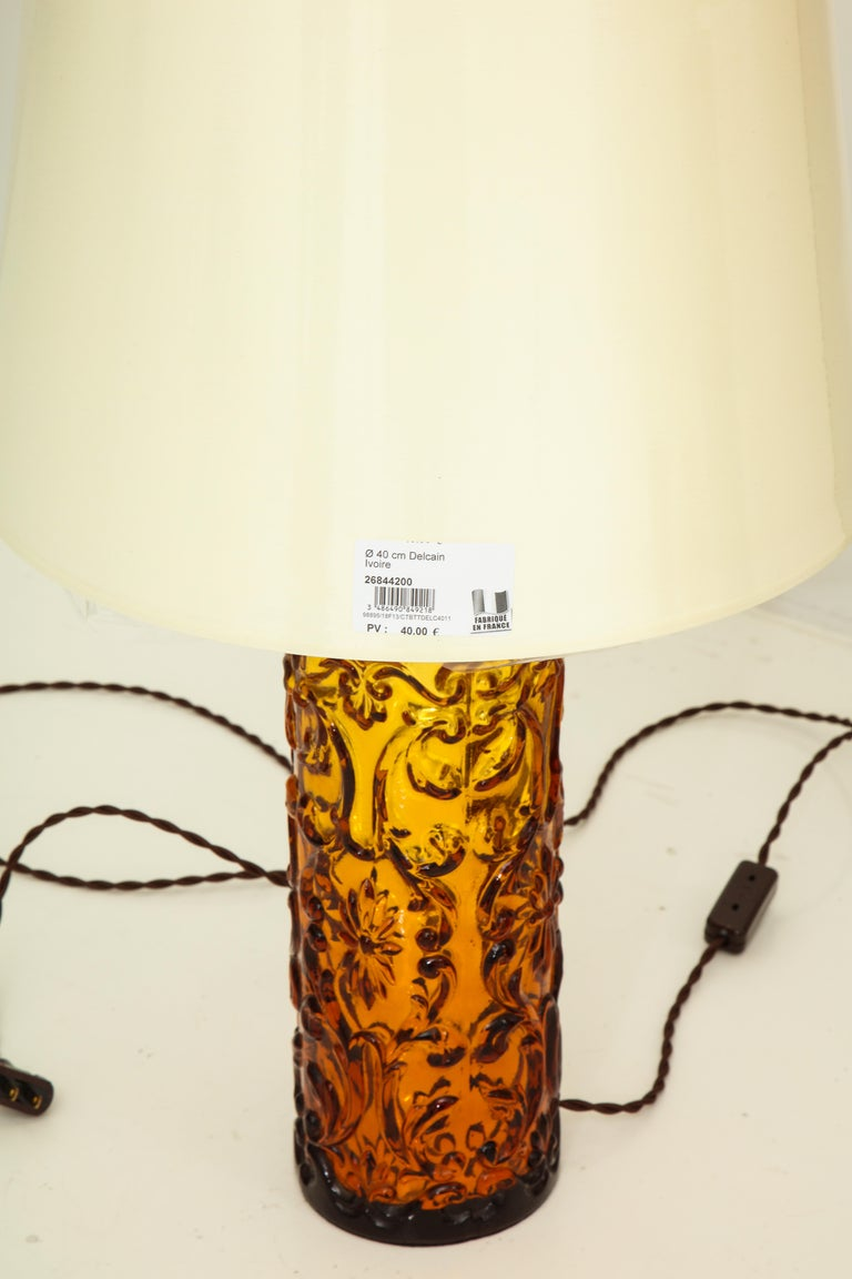 Glass Pair of Amber Bitossi Lamps For Sale