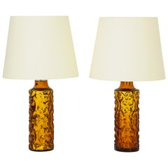 Pair of Amber Bitossi Lamps