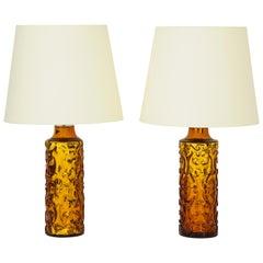 Pair of Amber Bitossi Lamps