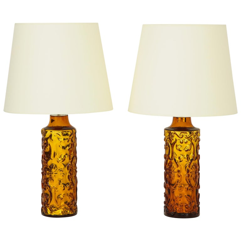 Pair of Amber Bitossi Lamps For Sale