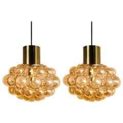 Pair of Amber Bubble Glass Pendant Lamps by Helena Tynell, 1960