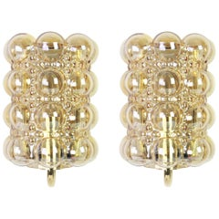 Pair of Amber Bubble Glass Sconces by Helena Tynell, Limburg, Germany