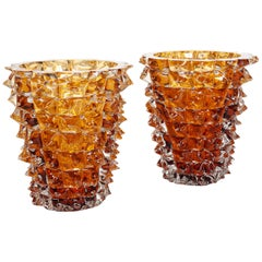 Pair of Amber Colored Vases in Murano Glass with Spikes Decor, Signed Costantini