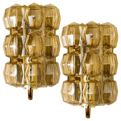 Pair of Amber Glass Wall Lights Sconces by Helena Tynell for Glashütte, 1960