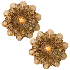 Pair of Amber Glass Wall Lights Sconces by Helena Tynell for Glashütte Limburg