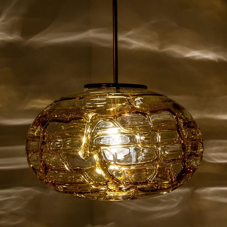 Pair of Amber Murano Glass Pendant Lamp, 1960s For Sale 3