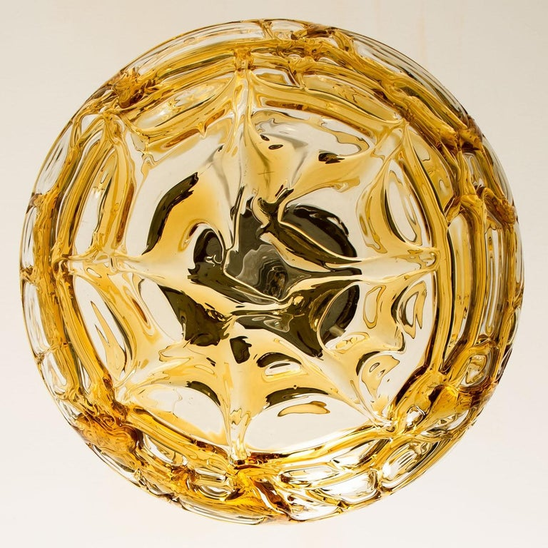 Pair of Amber Murano Glass Pendant Lamp, 1960s For Sale 5