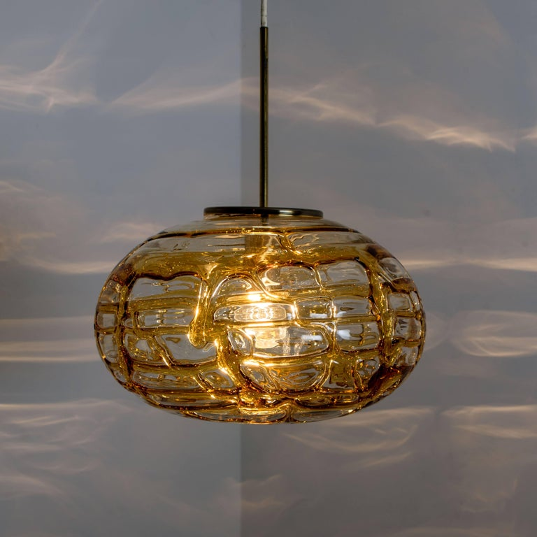 Pair of Amber Murano Glass Pendant Lamp, 1960s For Sale 7
