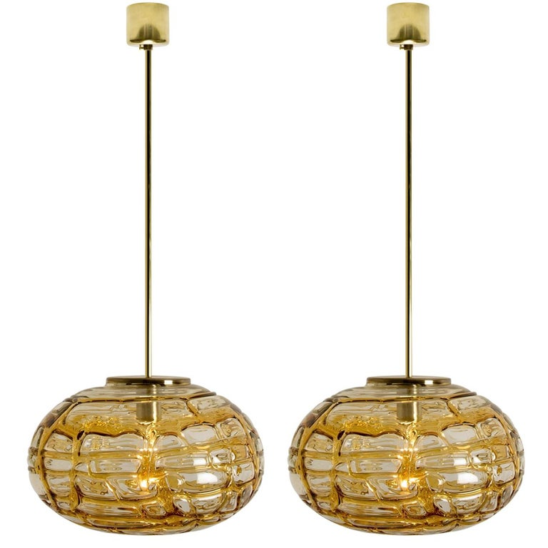 Pair of Amber Murano Glass Pendant Lamp, 1960s For Sale 9
