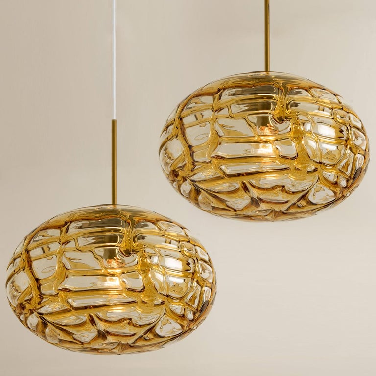 Pair of Amber Murano Glass Pendant Lamp, 1960s For Sale 10