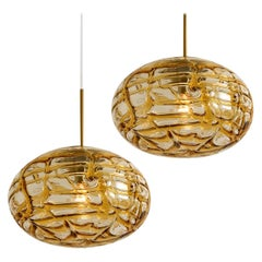 Pair of Amber Murano Glass Pendant Lamp, 1960s