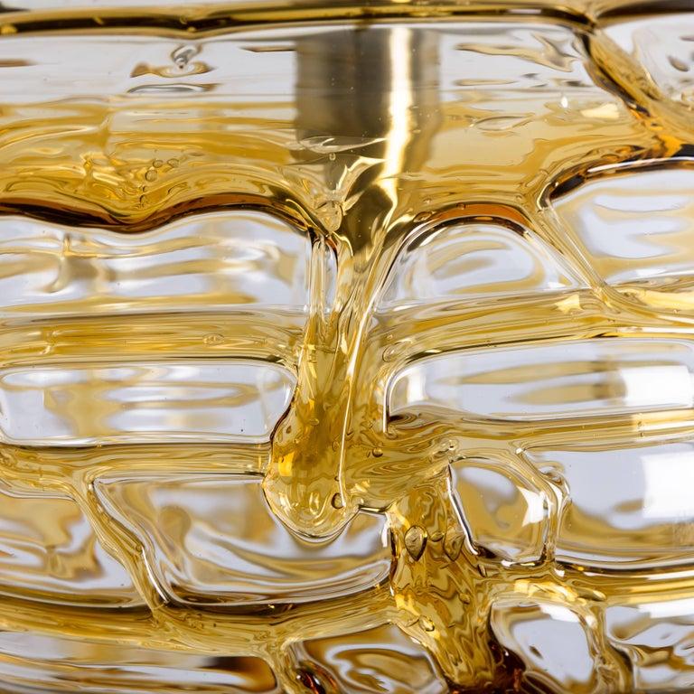 Mid-Century Modern Pair of Amber Murano Glass Pendant Lamp, 1960s For Sale