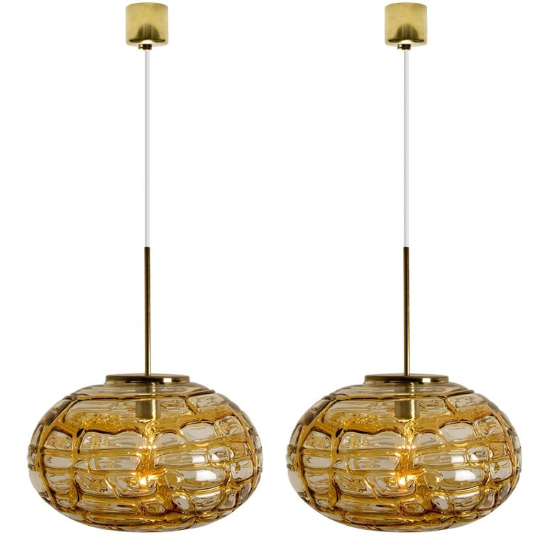 Brass Pair of Amber Murano Glass Pendant Lamp, 1960s For Sale