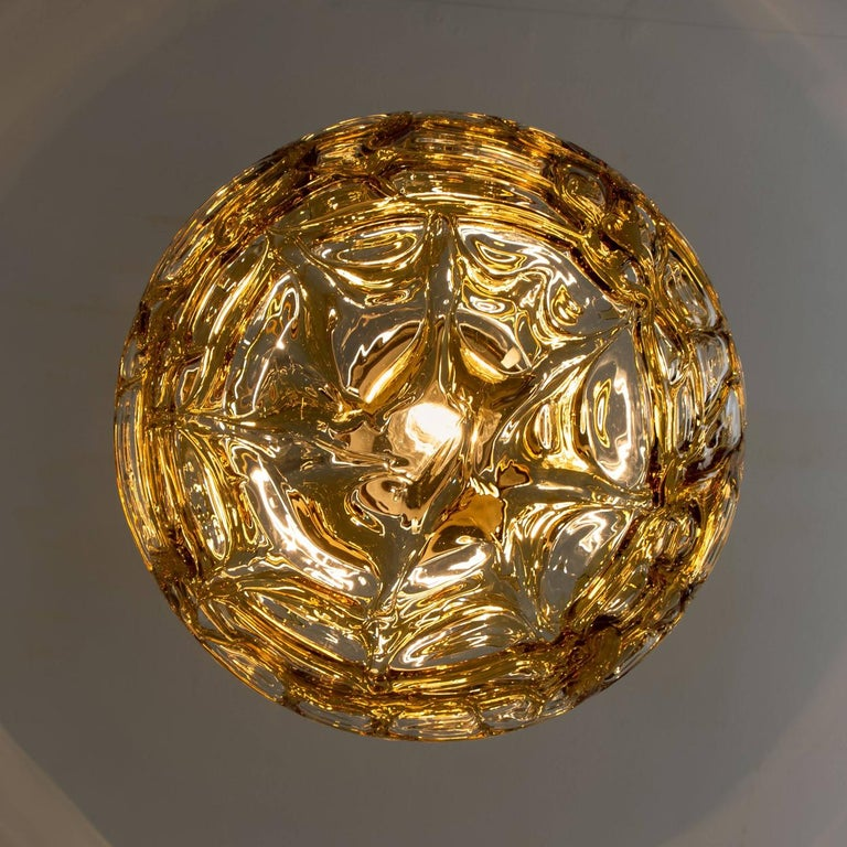 Pair of Amber Murano Glass Pendant Lamp, 1960s For Sale 1