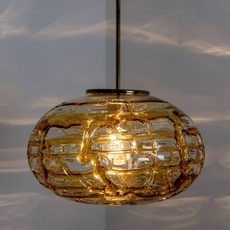 Pair of Amber Murano Glass Pendant Lamp, 1960s For Sale 2