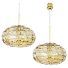 Pair of Amber Murano Glass Pendant Lamp, 1960s