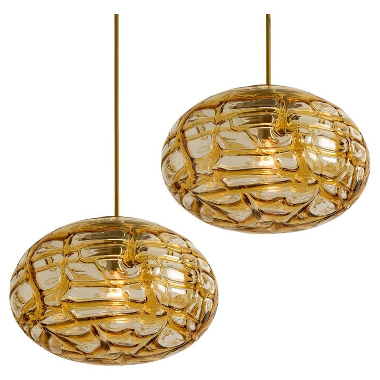 Pair of Amber Murano Glass Pendant Lamp, 1960s For Sale