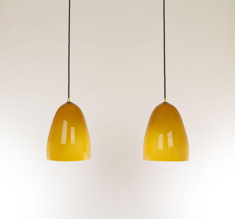 Brass Pair of Amber Murano Pendants by Massimo Vignelli for Venini, 1950s For Sale