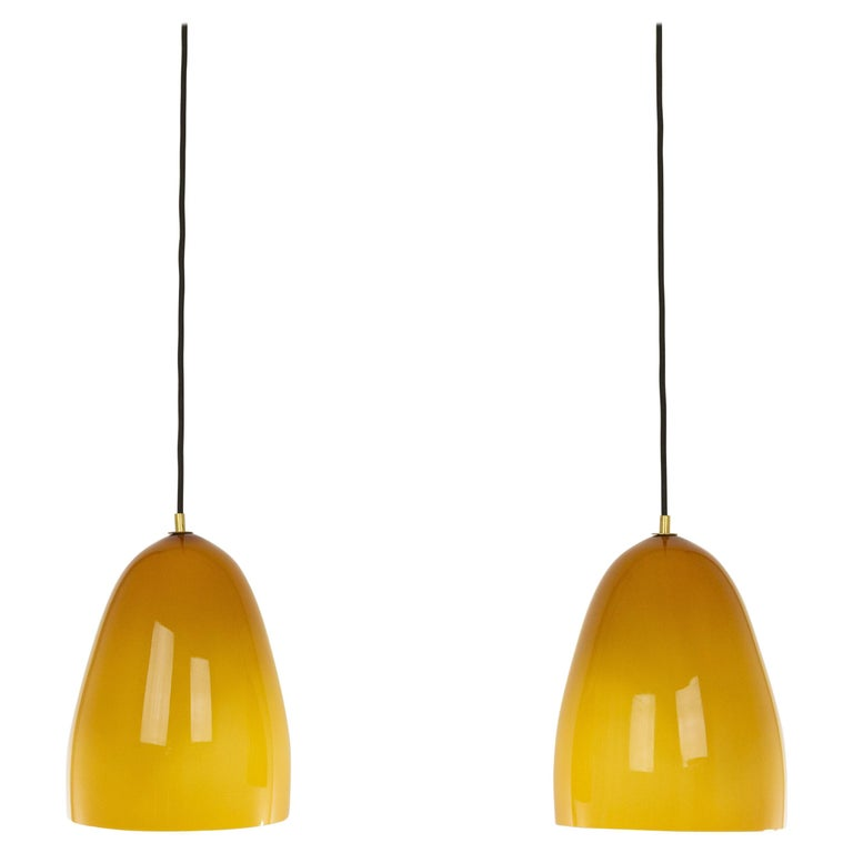 Pair of Amber Murano Pendants by Massimo Vignelli for Venini, 1950s For Sale