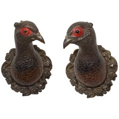 Pair of American 1930s Terracotta Turkey Wall Sculptures with Glass Eyes