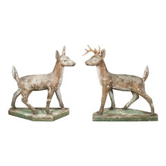 Pair of American 1940s Concrete Deer with Antlers and Green Polygonal Bases
